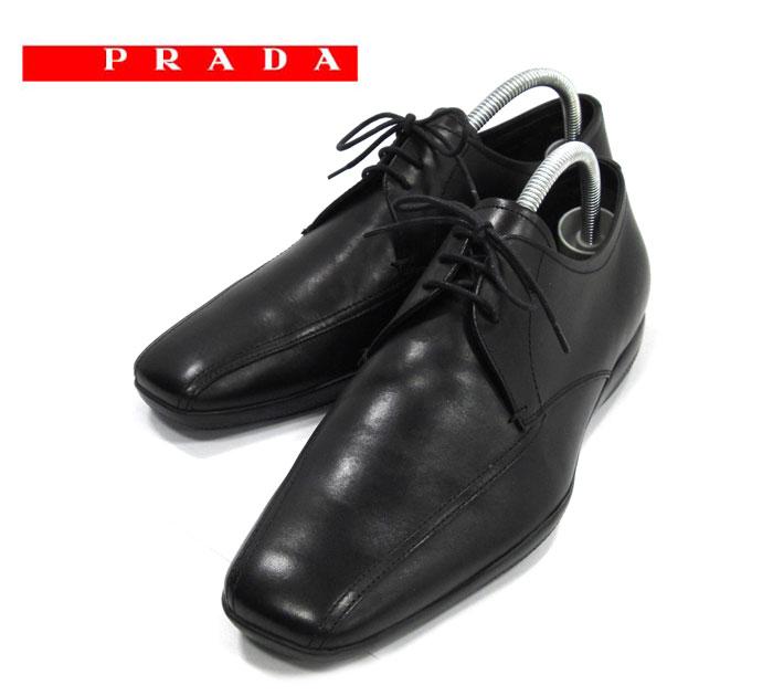 【PRADA SPORT】プラダスポーツ カーフレザー レースアップ ドレスシューズ サイズ6 1/2 ブラックスクエアトゥ 黒 革靴 紳士靴 ビジネス メンズ 男性用 美品 RM1233 【中古】