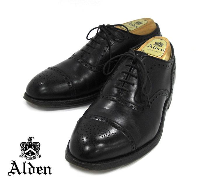 【ALDEN】オールデン #909 サイズ6E ハンプトンラスト メダリオンキャップトゥ ブラック 黒 セミグローブ ドレスシューズ 紳士靴 メンズ 革靴 RM1257 【中古】