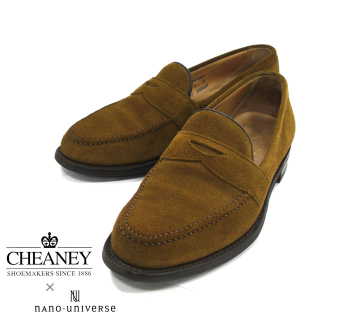 【JOSEPH CHEANEY&SONS】FOR nano UNIVERSE ジョセフ チーニー ナノユニバース別注 サイズ8F HUDSON コインローファー スエード ダイナイトソール ブラウン 茶 シューズ 紳士靴 メンズ 英国製 MADE IN ENGLAND RM1280 【中古】