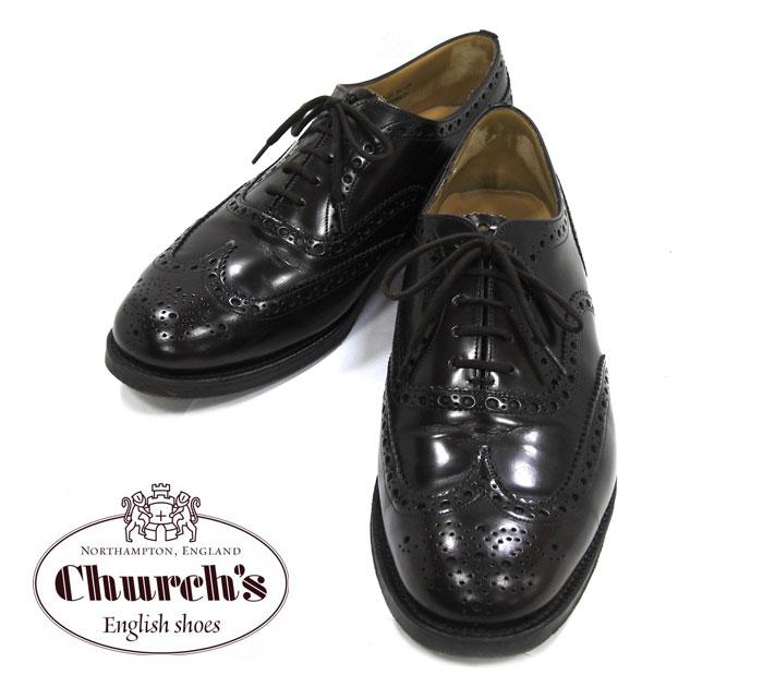 【Church's】チャーチ サイズ 8.5 ラスト81 G BURWOOD バーウッド ウイングチップ ライトエボニー ドレスシューズ レザー 革靴 メンズ RM1479【中古】