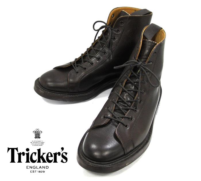 【Tricker's】トリッカーズ サイズ9 フィット5 M6087 モンキーブーツ コマンドソール ダークブラウン 紳士靴 レザー イギリス製 メンズ RM1488【中古】