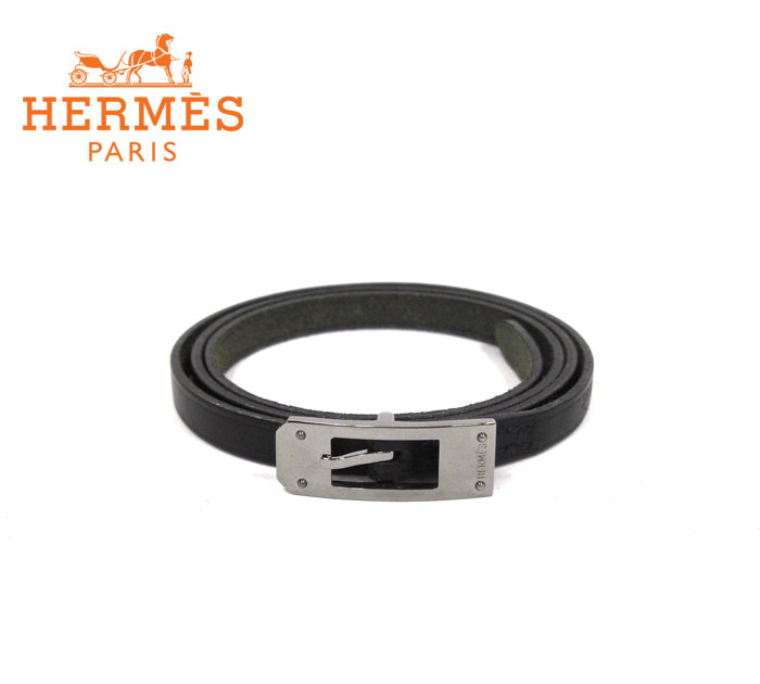 【HERMES】エルメス アピ3 ケリー アルディオン 3連ブレスレット チョーカー レザー クロームメタル 黒 □H刻印 RM1513 【中古】