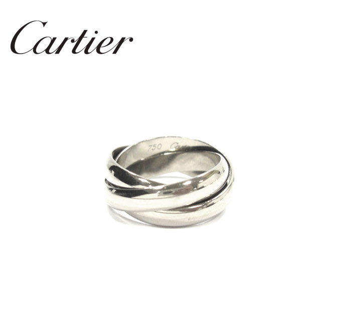 【Cartier】カルティエ K18 ホワイトゴールド トリニティ 3連リング #49 750 WG 指輪 RA4911【中古】
