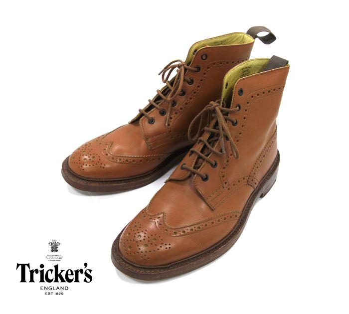 【Tricker's】トリッカーズ カントリーブーツ #2508 サイズ 9 1/2 F5 MALTON ACORN モールトン レザーブーツ 革靴 英国製 メンズ RM1560【中古】