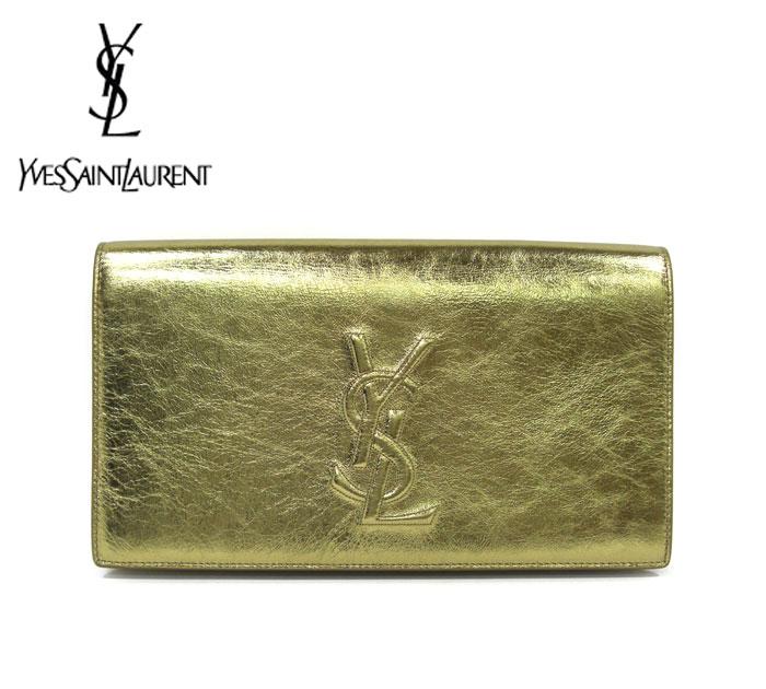 【SAINT LAURENT】イヴ・サンローラン バッグ クラッチ YSL ゴールド レディース 金色 ロゴ フラップ レザー 革 RM1564 【中古】