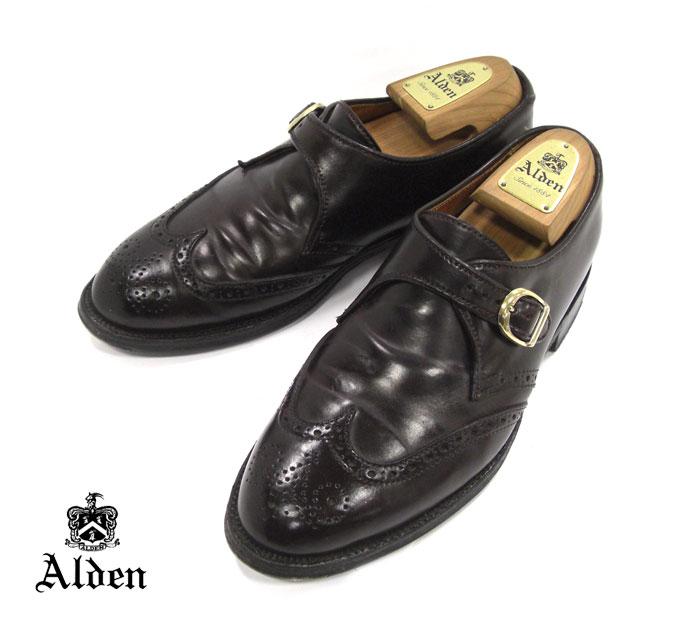 【ALDEN NY限定】オールデン #1671 サイズ 7E ウィングチップ モンクストラップ アバディーンラスト バーガンディ コードバン ドレスシューズ 紳士靴 メンズ RM1583【中古】