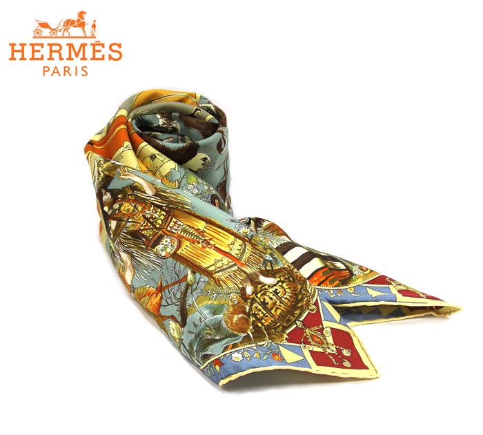 【HERMES】エルメス カレ90 褐色の男達の伝説 大判スカーフ シルク ストール オレンジ系 小物 箱あり MYTHOLOGIES DES HOMES RM1681 【中古】