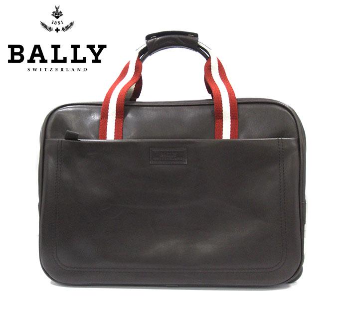 【BALLY】バリー レザー キャリー ボストン バッグ ダークブラウン キャスター付き 焦げ茶 ビジネス 出張 旅行 RM2096 【中古】