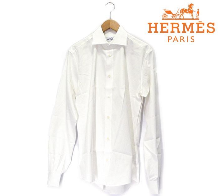 【HERMES】エルメス セリエボタン ホワイトカラー ロングスリーブシャツ 40 153/4 フランス製 メンズ 男性用 長袖 白 RC0875【中古】