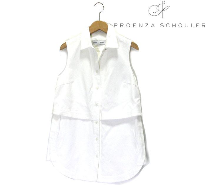 【Proenza Scholer】プロエンザ スクーラー ノースリーブチュニックカットソー サイズ2 イタリア製 レディース 女性用 トップス 白 ホワイト RC0916【中古】