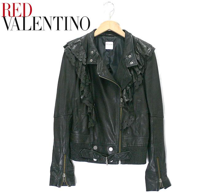 【RED VALENTINO】レッドヴァレンティノ フリルダブルフェイスレザーライダースジャケット サイズ43 約Mサイズ レディース 女性用 黒 ブラック 本革 アウター RC0991【中古】