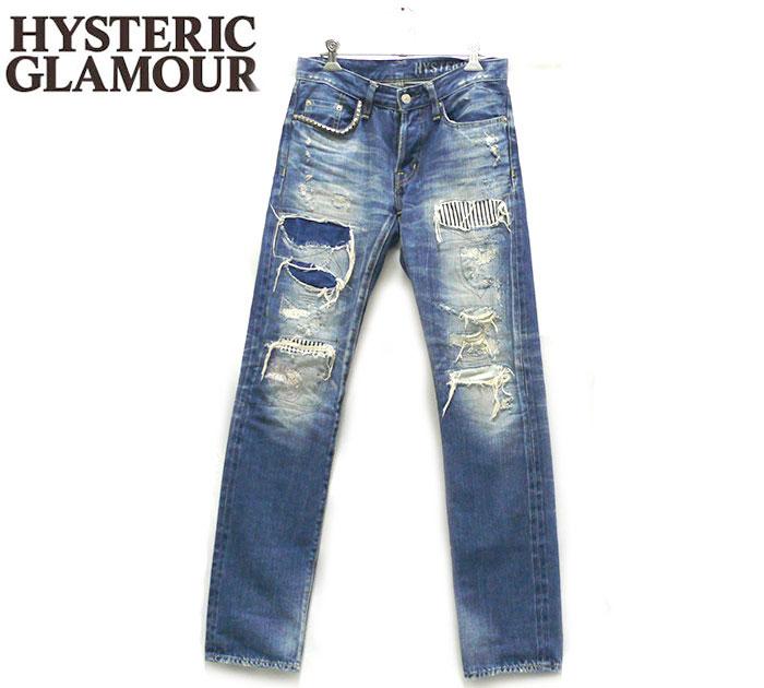【HYSTERIC GLAMOUR】 ヒステリックグラマー RSM加工デニムスリムストレートパンツ サイズ28 XXS 日本製 メンズ 男性用 RC1018【中古】