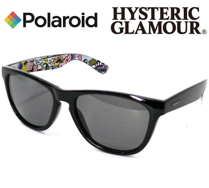 【HYSTERIC GLAMOUR Polaroid】ヒステリックグラマー ポラロイド別注 サングラス 2017年モデル アメコミ コミック ブラック 箱、ケースあり 新品同様 RC1033【中古】
