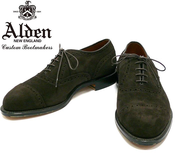 【ALEDN×UNITED ARROWS】オールデン×ユナイテッドアローズ サイズ8D 約26cm #98760 ストレートキャップ パンプトンラスト 靴 スエード メンズ シューズ 未使用 箱、袋有り RC1245 【中古】