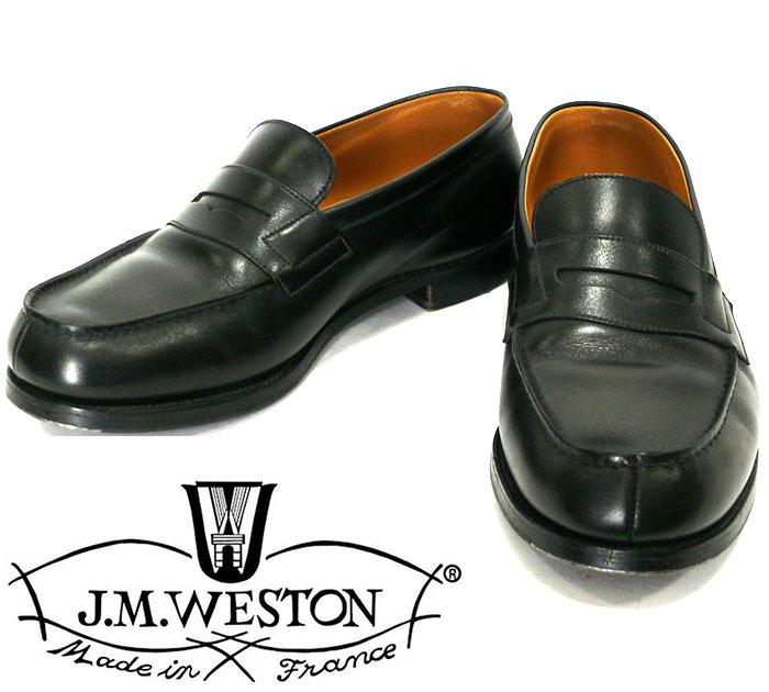 【J.M.WESTON】ジェイエムウエストン サイズ6F 約24.5cm #180 シグニチャーローファー ボックスカーフ シューズ メンズ ブラック 黒 フランス製 本革 レザー 靴 RC1247【中古】
