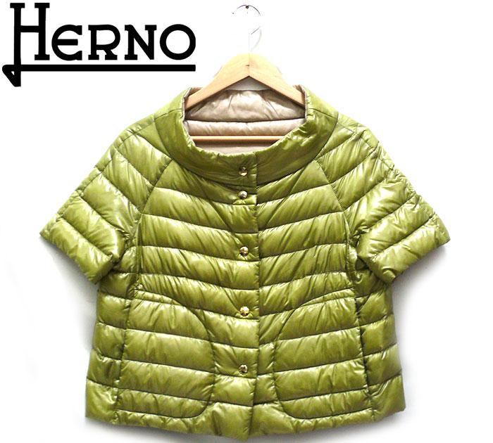 【HERNO】ヘルノ リバーシブル ライトダウンジャケット サイズ42 半袖 キャップスリーブ トップス グリーン ベージュ レディース 女性用 インナーダウン RC1248【中古】