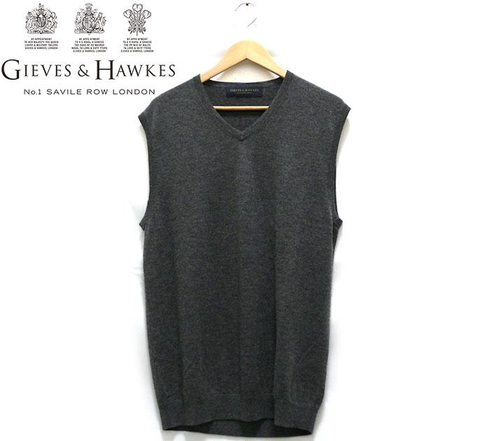 【GIEVES&HAWK】ギーブス&ホークス サイズXL カシミヤ100% ニットベスト グレー メンズ 男性用 RC1273【中古】