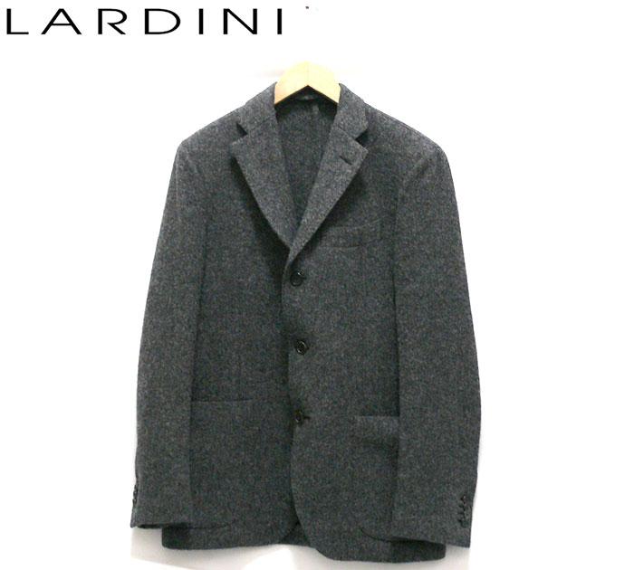 【LARDINI】ラルディーニ ウールツイードテーラージャケット サイズ48 約M メンズ 男性用 グレー イタリア製 RC1336【中古】