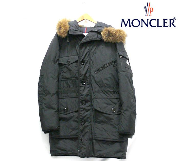 【MONCLER】モンクレール AUGUSTIN ミリタリーロングダウンコート サイズ5 ルーマニア製 黒 ブラック アウター メンズ 男性用 RC1396【中古】