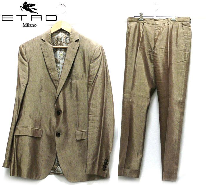 【ETORO】エトロ シルクリネンスーツ サイズ48 イタリア製 メンズ 男性用 フォーマル ブラウン RC1464【中古】