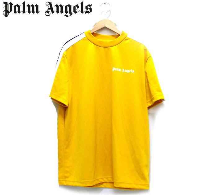 【Palm Angels】パームエンジェルス フロッキーロゴショートスリーブTシャツ Mサイズ イタリア製 黄色 イエロー 半袖 メンズ 男性用 トップス 2018年モデル RC1475
