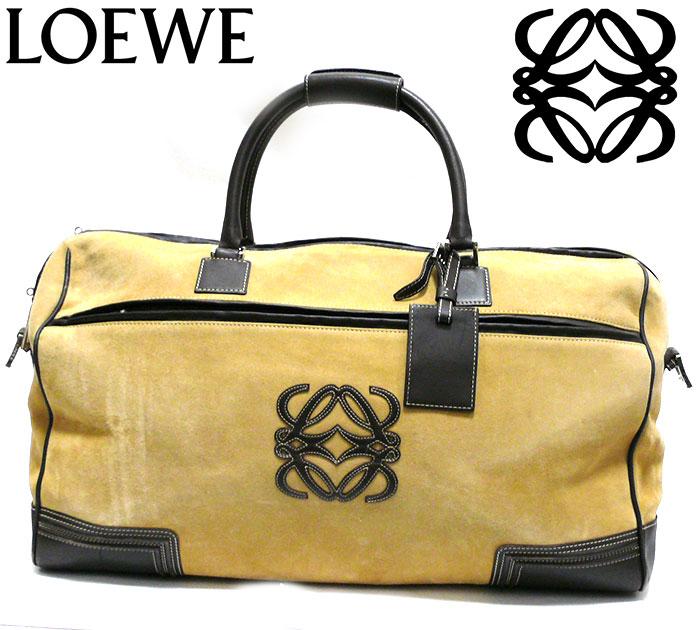 【LOEWE】ロエベ アマソナ スエード ボストンバッグ ベージュ カデナあり 旅行かばん 鞄 レザー 本革 RC1482【中古】