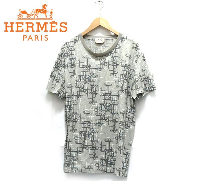 【HERMES】エルメス 幾何学プリントショートスリーブTシャツ XL イタリア製 トップス 半袖 メンズ 男性用 水色 グレー イタリア製 RC1540【中古】