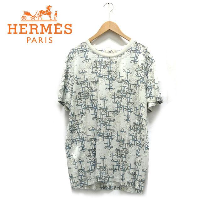 【HERMES】エルメス 幾何学プリントショートスリーブTシャツ XL イタリア製 トップス 半袖 メンズ 男性用 水色 ライトブルー イタリア製 RC1540【中古】