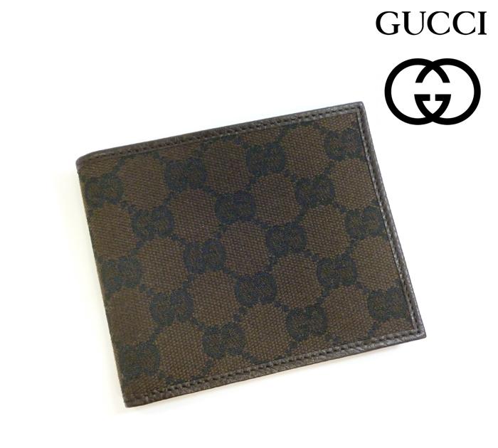 【GUCCI】 グッチ GGキャンバス キャンバス×レザー 二つ折り財布 ブラウン RM0228【中古】