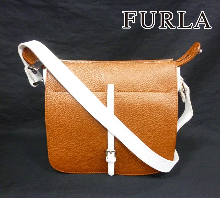 【FURLA】フルラ ショルダーバッグ 斜め掛け 2WAY ハンドバッグ レザー ホワイト×ブラウン 白×茶 カジュアル 革 RM0346【中古】