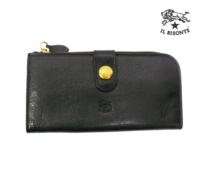 【IL BISONTE】イルビゾンテ レザーロングウォレット 保存袋付 長財布 本革 レザー 黒 男女兼用【美品】RC0548 【中古】