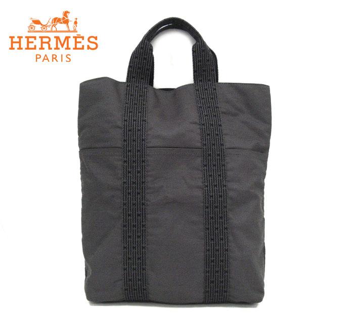 【HERMES】エルメス カバス トートバッグ キャンバス グレー 鞄 メンズ レディース 縦長 縦型 ハンドバッグ RM1360 【中古】