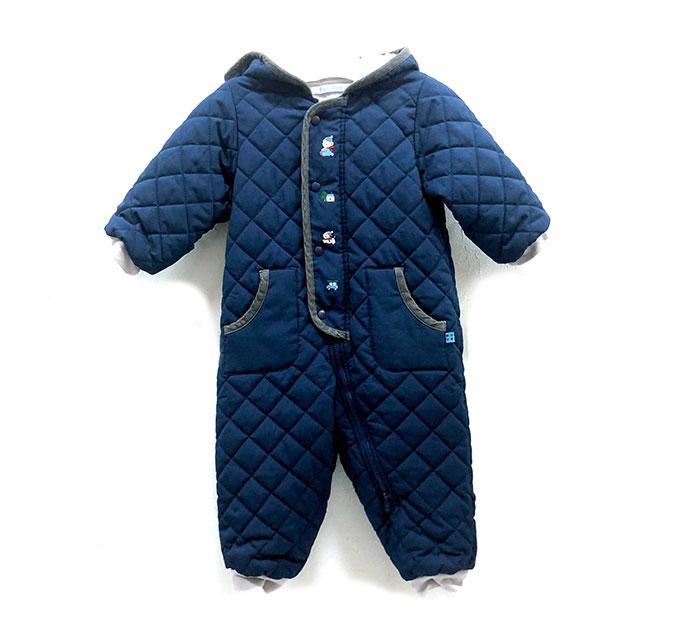 注目ブランド 【familiar】ファミリア キルティング ジャンプスーツ フード付き 裏フリース カバーオール サイズ80 ネイビー×グレー ファミちゃん ワンちゃん 刺繍 ベビー 中綿 RH0145, くらしのeショップ c1d19d99