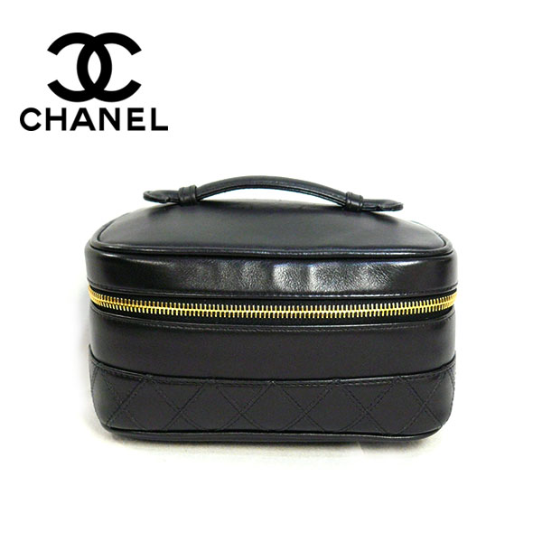 40eb758aa354 CHANEL シャネル バニティバッグ ビコローレ ココマーク 横型 化粧ポーチ アクセサリーポーチ レザー 革 ブラック×