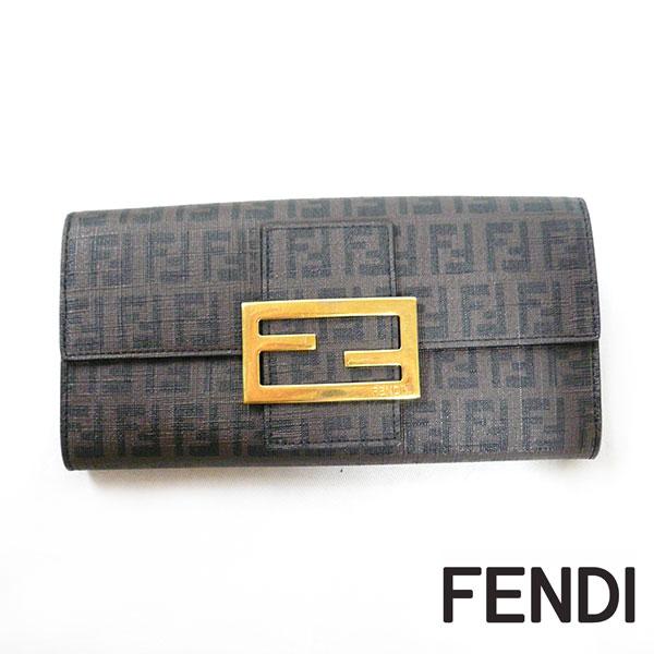 【FENDI】フェンディ ズッキーニ 二つ折り 長財布 美品 小銭入れ ブラウン ON0123 【中古】