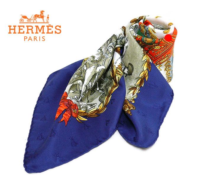 【HERMES】エルメスカレ90 NAPOLEON ナポレオン 大判スカーフ シルク100% ブルー×グリーン×レッド×イエロー×アイボリー フランス製 ON1583【極美品】【中古】