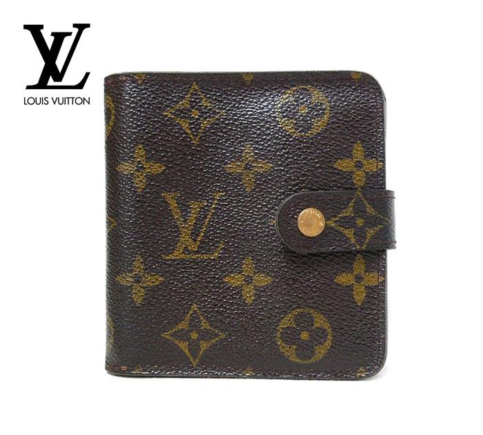 【LOUIS VUITTON】ルイヴィトン モノグラム コンパクトジップ 二つ折り財布 PVC 男女兼用 ユニセックス スペイン製 M61667 ON1718【中古】