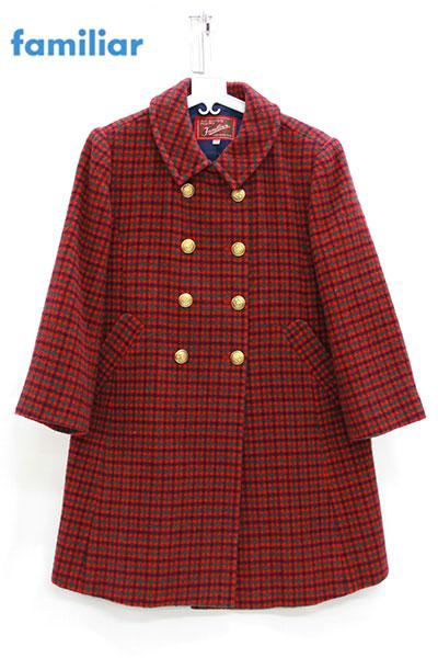 【familiar】ファミリア チェック ウールコート 赤 120cm【中古】