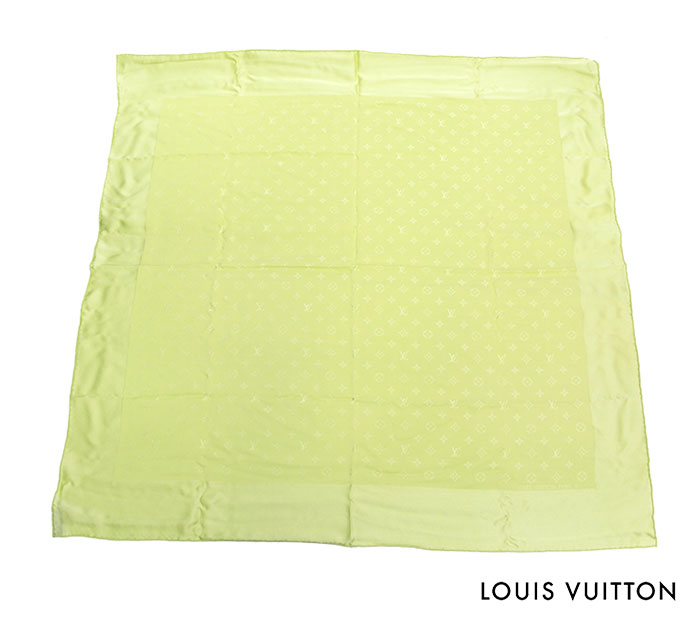 【LOUIS VUITTON】ルイヴィトンモノグラム カレ モナコ 大判 シルク 100% スカーフ グリーン【中古】