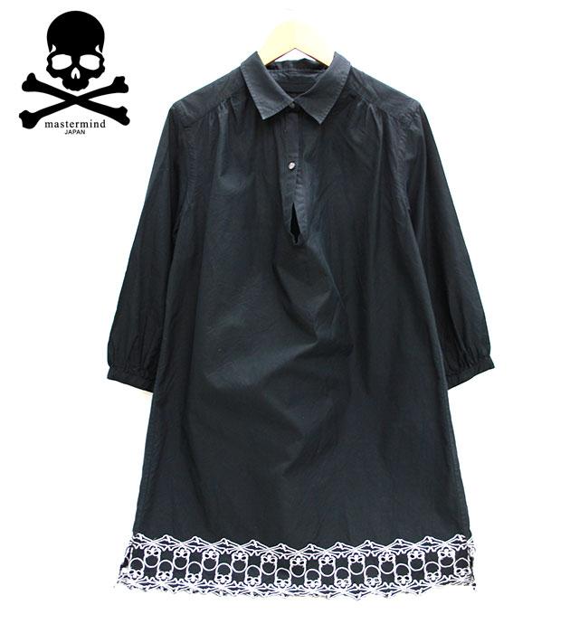 【MASTER MIND】 マスターマインド dreaming期 スカル刺繍 ワンピース ブラック サイズ1 スキッパー シャツワンピース F51920 【中古】
