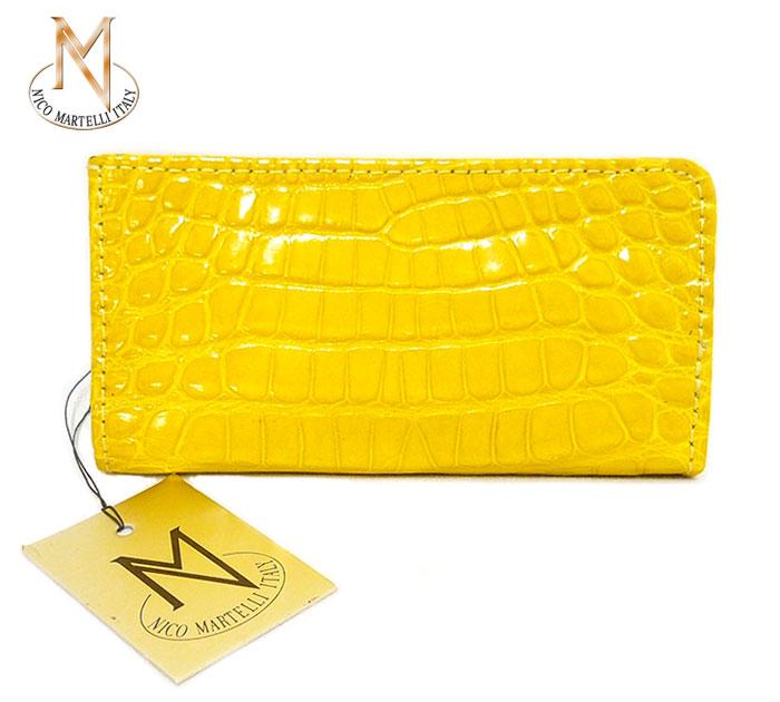 【NICO MARTELLI】ニコ マルテリ キーケース 6連 クロコダイル レザー レモンイエロー 黄色 イタリア製 ON1417【中古】