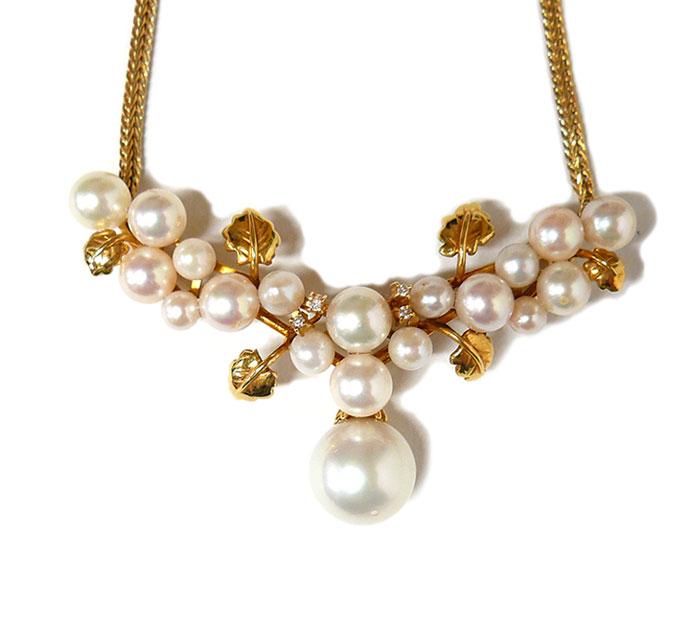 ネックレス ペンダント K18YG 750 真珠 パール0.5~1.35cm ダイヤモンド 総重量30.6g 葉っぱ リーフ 植物 ON1454【中古】