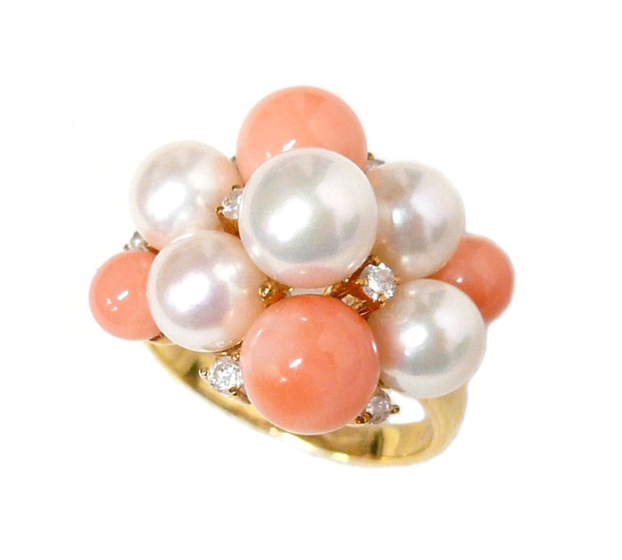 パール 珊瑚 ダイヤモンド K18 イエローゴールド リング 指輪 真珠 サンゴ K18YG 18金 サイズ16号 アクセサリー ジュエリー 宝石 ON1543【中古】