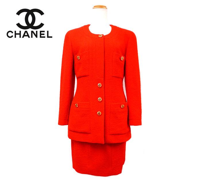 【CHANEL】シャネルヴィンテージ ツイード セットアップ スーツ サイズ38 ノーカラー レッド×ゴールド 赤×金 ココマーク フランス製 ON1894【中古】