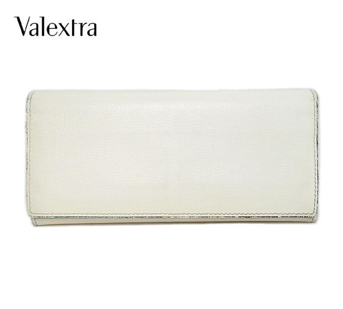 【Valextra】ヴァレクストラ 二つ折り長財布 フラップウォレット 小銭入れ付き レザー 本革 オフホワイト 白 イタリア製 ON2050【中古】