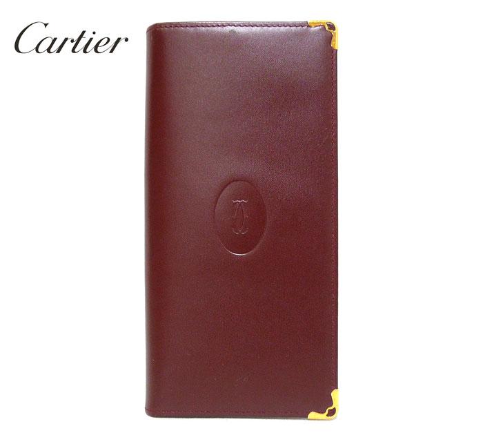 【Cartier】カルティエ マスト 二つ折り長財布 ボルドー ワインレッド ゴールド金具 レザー 本革 ギャランティカード付 ON2054【美品】【中古】