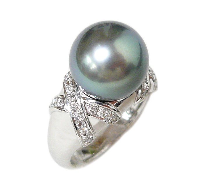 黒真珠 ブラックパール ダイヤモンド リング 指輪 サイズ12号 直径11mm Pt900 プラチナ ダイヤ0.222ct 12.6g アクセサリー ジュエリー ON2118【美品】【中古】