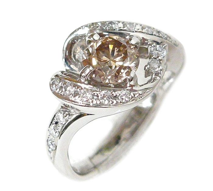 ブラウンダイヤモンド シャンパンブラウン リング 指輪 サイズ12号 ブラウンダイヤ1.073ct ダイヤ0.23ct Pt900 プラチナ 7.5g アクセサリー ジュエリー ON2119【中古】