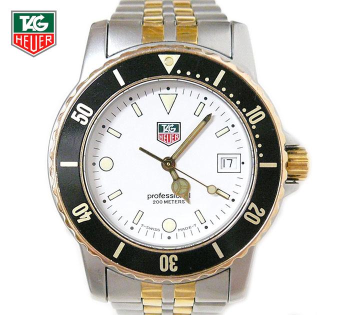 【TAG HEUER】タグホイヤー Professional プロフェッショナル 200M WD1222-G-20 メンズウォッチ 男性用腕時計 クォーツ アナログ ホワイト文字盤 SS ステンレススチール コンビ シルバー×ゴールドカラー ON2241【中古】
