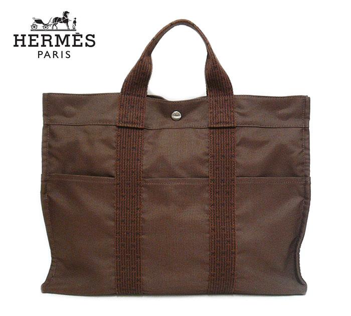 【HERMES】エルメス エールライン トートMM トートバッグ ハンドバッグ キャンバス ブラウン×シルバー金具 茶 フランス製 ON2341【中古】